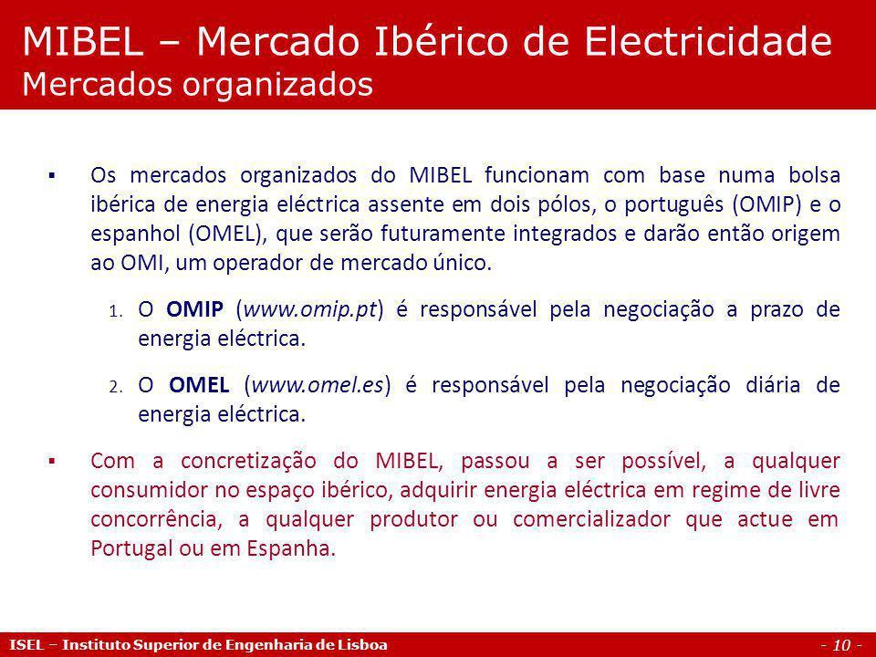 - 10 - ISEL – Instituto Superior de Engenharia de Lisboa Os mercados organizados do MIBEL funcionam com base numa bolsa ibérica de energia eléctrica a