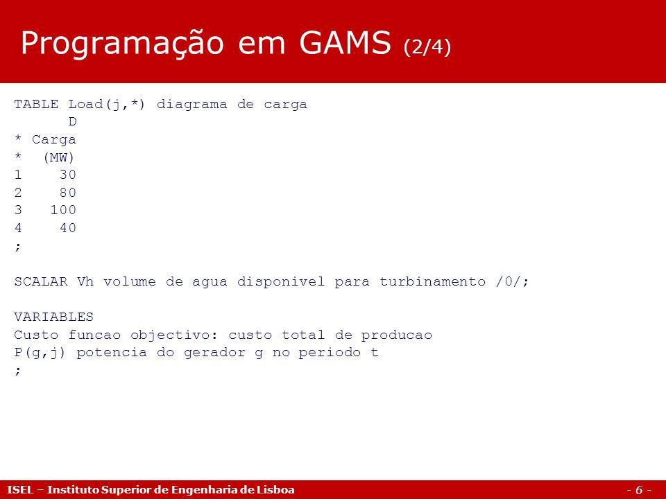 - 6 - ISEL – Instituto Superior de Engenharia de Lisboa TABLE Load(j,*) diagrama de carga D * Carga * (MW) 1 30 2 80 3 100 4 40 ; SCALAR Vh volume de