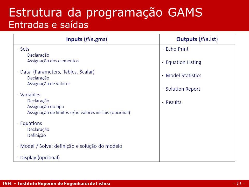 - 11 - Estrutura da programação GAMS Entradas e saídas ISEL – Instituto Superior de Engenharia de Lisboa Inputs (file.gms)Outputs (file.lst) · Sets De