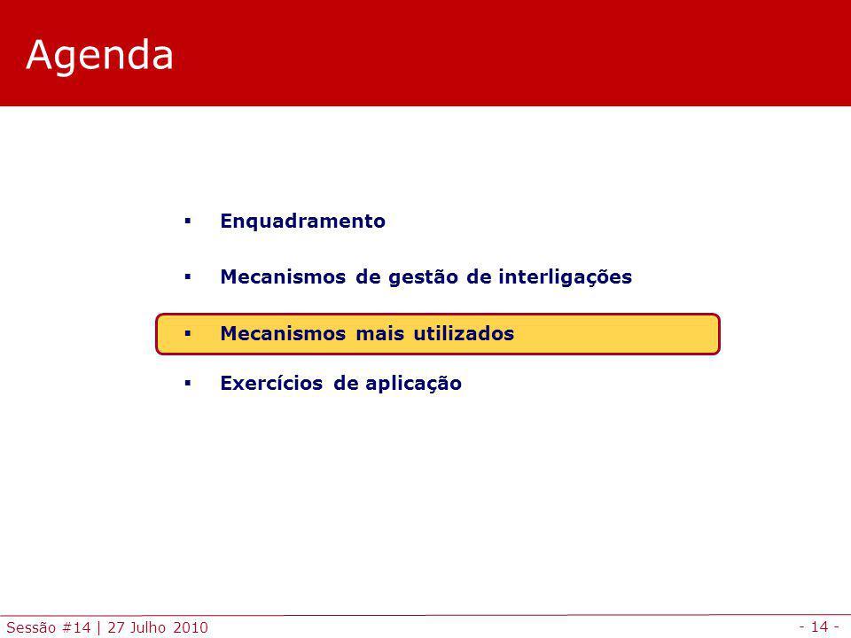 - 14 - Sessão #14 | 27 Julho 2010 Agenda Enquadramento Mecanismos de gestão de interligações Mecanismos mais utilizados Exercícios de aplicação