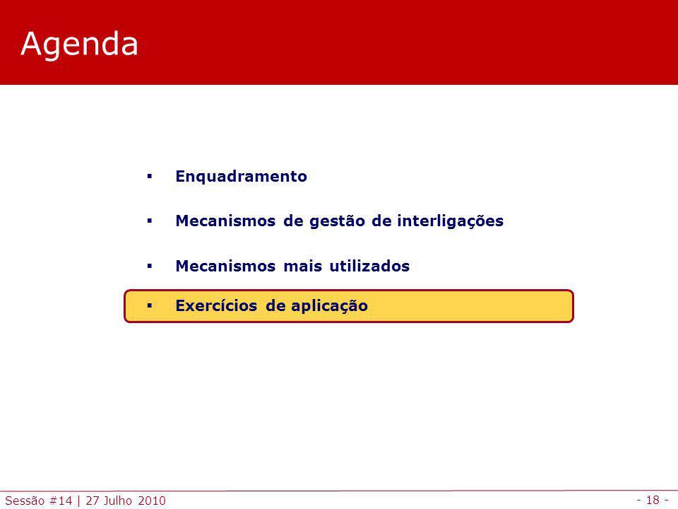- 18 - Sessão #14 | 27 Julho 2010 Agenda Enquadramento Mecanismos de gestão de interligações Mecanismos mais utilizados Exercícios de aplicação