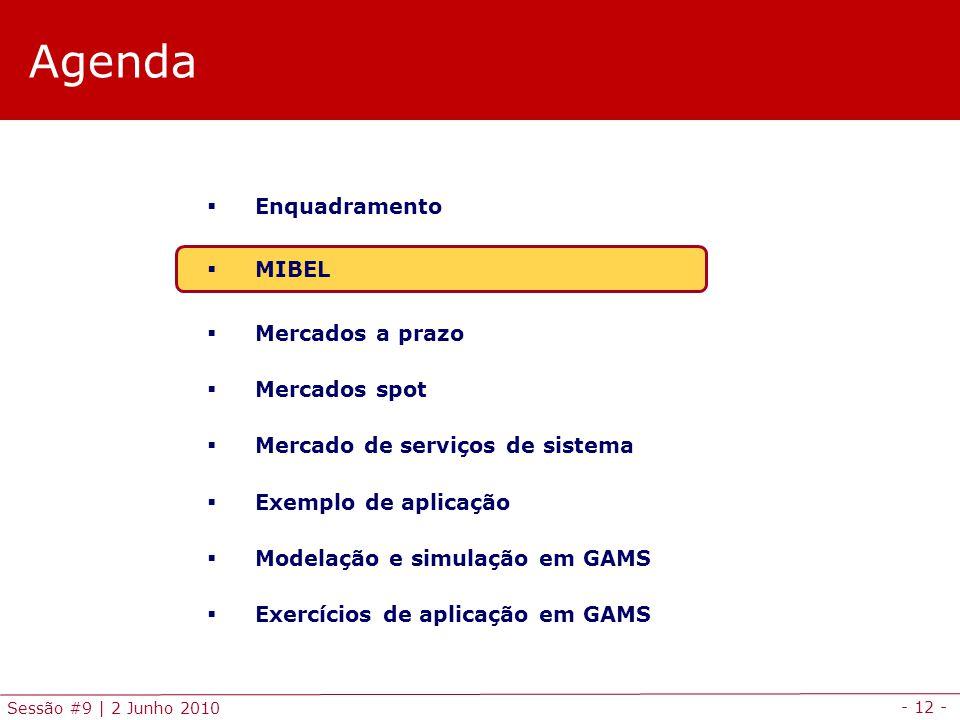 - 12 - Sessão #9 | 2 Junho 2010 Agenda Enquadramento MIBEL Mercados a prazo Mercados spot Mercado de serviços de sistema Exemplo de aplicação Modelação e simulação em GAMS Exercícios de aplicação em GAMS