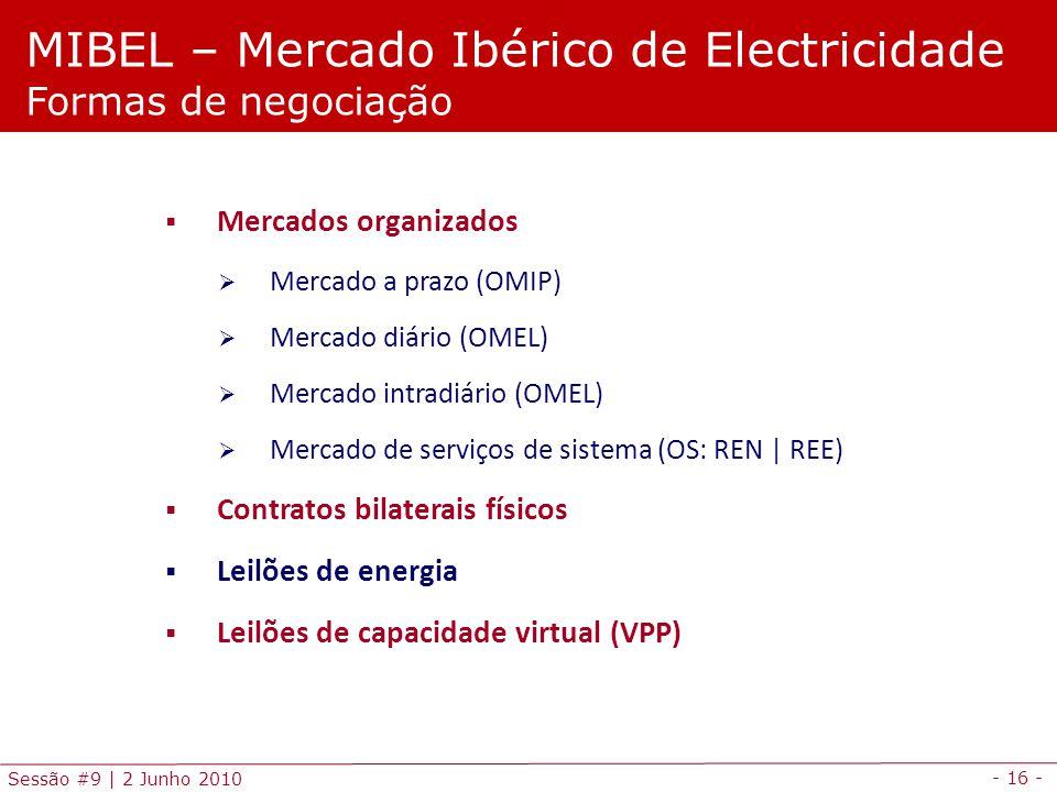 - 16 - Sessão #9 | 2 Junho 2010 Mercados organizados Mercado a prazo (OMIP) Mercado diário (OMEL) Mercado intradiário (OMEL) Mercado de serviços de sistema (OS: REN | REE) Contratos bilaterais físicos Leilões de energia Leilões de capacidade virtual (VPP) MIBEL – Mercado Ibérico de Electricidade Formas de negociação