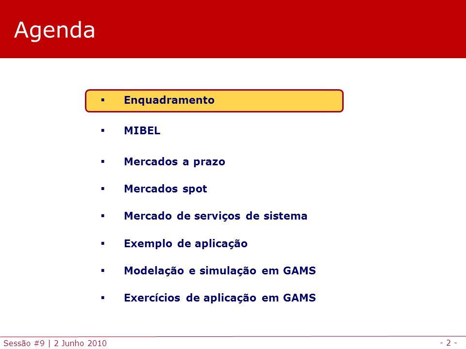 - 2 - Sessão #9 | 2 Junho 2010 Agenda Enquadramento MIBEL Mercados a prazo Mercados spot Mercado de serviços de sistema Exemplo de aplicação Modelação e simulação em GAMS Exercícios de aplicação em GAMS