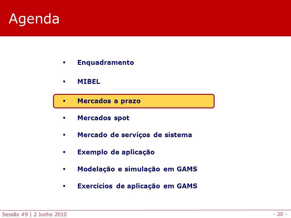 - 20 - Sessão #9 | 2 Junho 2010 Agenda Enquadramento MIBEL Mercados a prazo Mercados spot Mercado de serviços de sistema Exemplo de aplicação Modelação e simulação em GAMS Exercícios de aplicação em GAMS