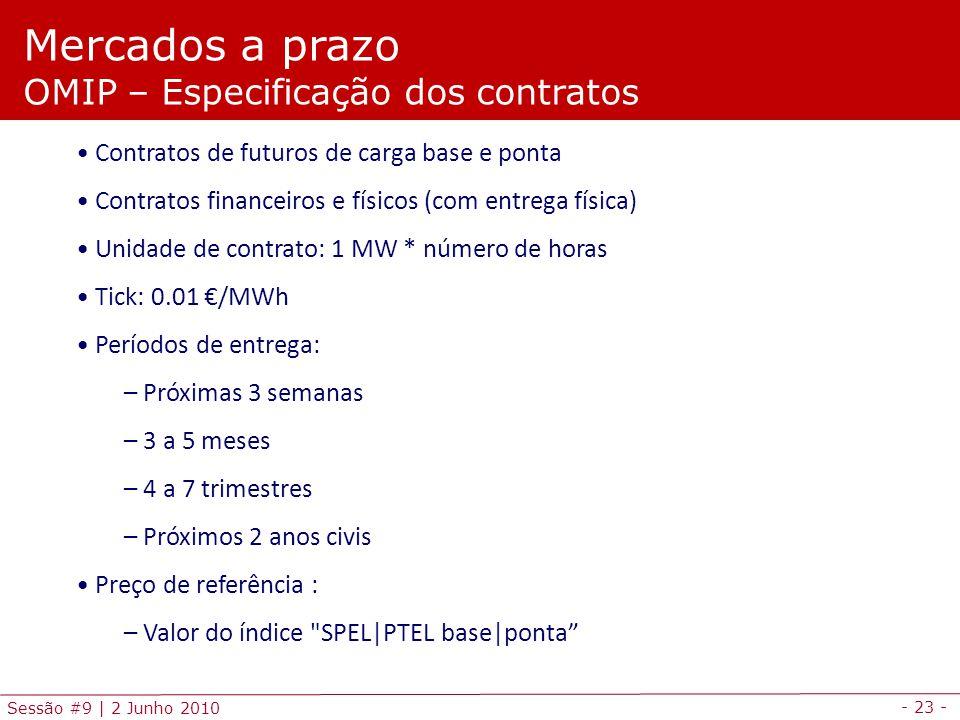 - 23 - Sessão #9 | 2 Junho 2010 Mercados a prazo OMIP – Especificação dos contratos Contratos de futuros de carga base e ponta Contratos financeiros e físicos (com entrega física) Unidade de contrato: 1 MW * número de horas Tick: 0.01 /MWh Períodos de entrega: – Próximas 3 semanas – 3 a 5 meses – 4 a 7 trimestres – Próximos 2 anos civis Preço de referência : – Valor do índice SPEL|PTEL base|ponta