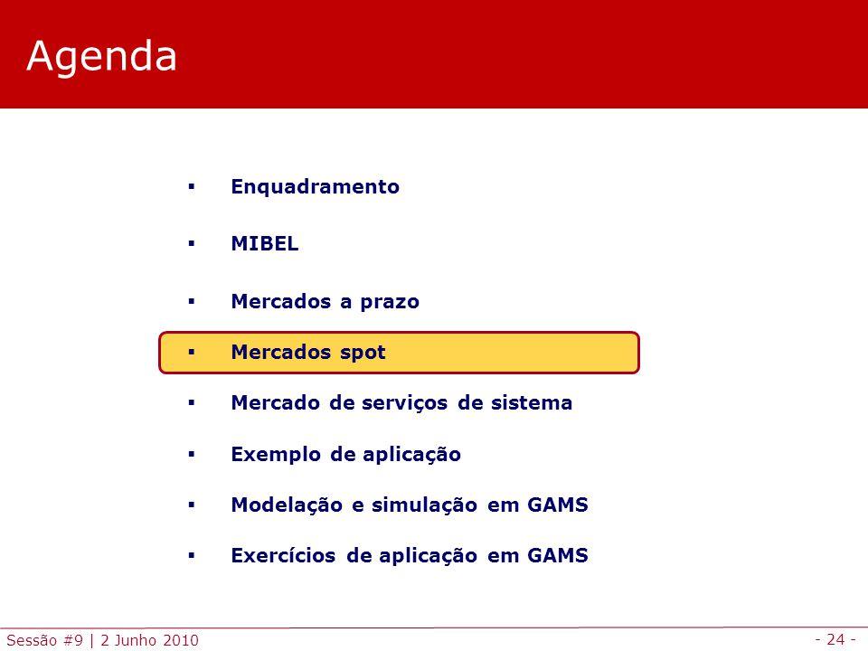 - 24 - Sessão #9 | 2 Junho 2010 Agenda Enquadramento MIBEL Mercados a prazo Mercados spot Mercado de serviços de sistema Exemplo de aplicação Modelação e simulação em GAMS Exercícios de aplicação em GAMS