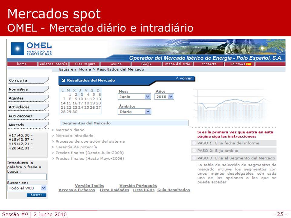 - 25 - Sessão #9 | 2 Junho 2010 Mercados spot OMEL - Mercado diário e intradiário