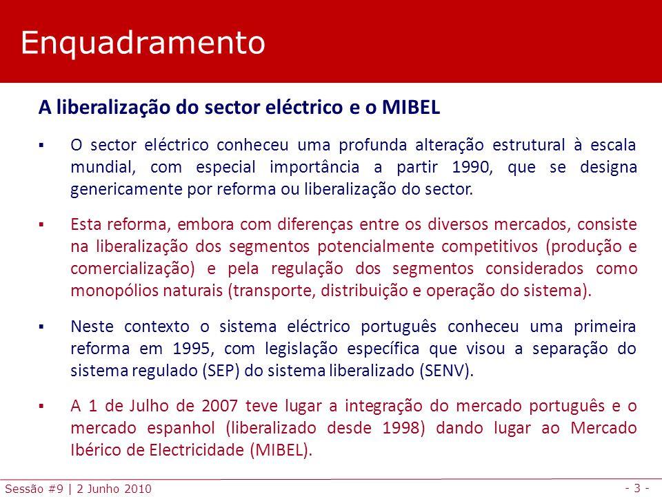 - 3 - Sessão #9 | 2 Junho 2010 Enquadramento A liberalização do sector eléctrico e o MIBEL O sector eléctrico conheceu uma profunda alteração estrutural à escala mundial, com especial importância a partir 1990, que se designa genericamente por reforma ou liberalização do sector.