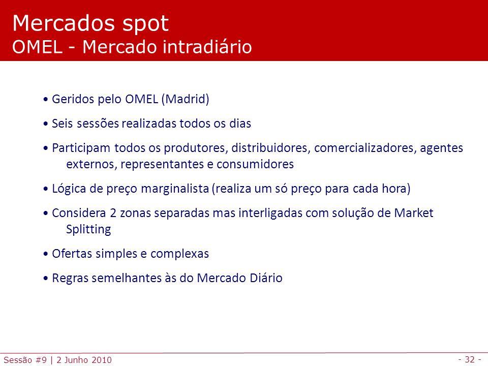 - 32 - Sessão #9 | 2 Junho 2010 Mercados spot OMEL - Mercado intradiário Geridos pelo OMEL (Madrid) Seis sessões realizadas todos os dias Participam todos os produtores, distribuidores, comercializadores, agentes externos, representantes e consumidores Lógica de preço marginalista (realiza um só preço para cada hora) Considera 2 zonas separadas mas interligadas com solução de Market Splitting Ofertas simples e complexas Regras semelhantes às do Mercado Diário