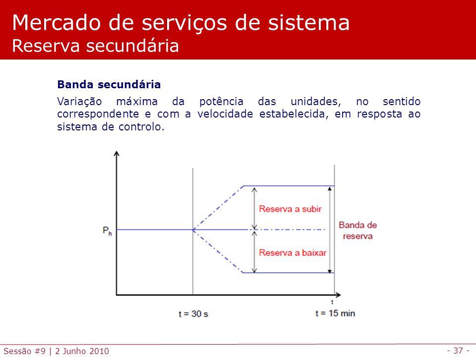 - 37 - Sessão #9 | 2 Junho 2010 Mercado de serviços de sistema Reserva secundária Banda secundária Variação máxima da potência das unidades, no sentido correspondente e com a velocidade estabelecida, em resposta ao sistema de controlo.