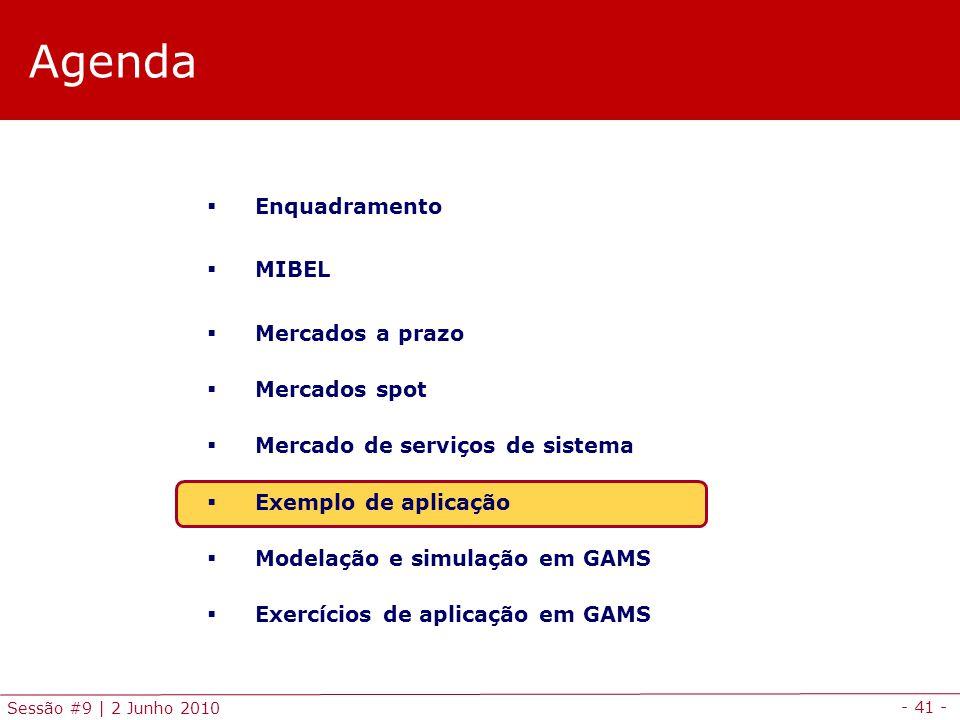 - 41 - Sessão #9 | 2 Junho 2010 Agenda Enquadramento MIBEL Mercados a prazo Mercados spot Mercado de serviços de sistema Exemplo de aplicação Modelação e simulação em GAMS Exercícios de aplicação em GAMS