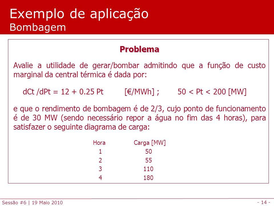 - 14 - Sessão #6 | 19 Maio 2010 Exemplo de aplicação Bombagem Problema Avalie a utilidade de gerar/bombar admitindo que a função de custo marginal da