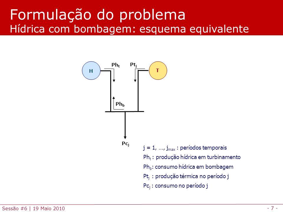 - 7 - Sessão #6 | 19 Maio 2010 j = 1, …, j max : períodos temporais Ph t : produção hídrica em turbinamento Ph b : consumo hídrica em bombagem Pt j :