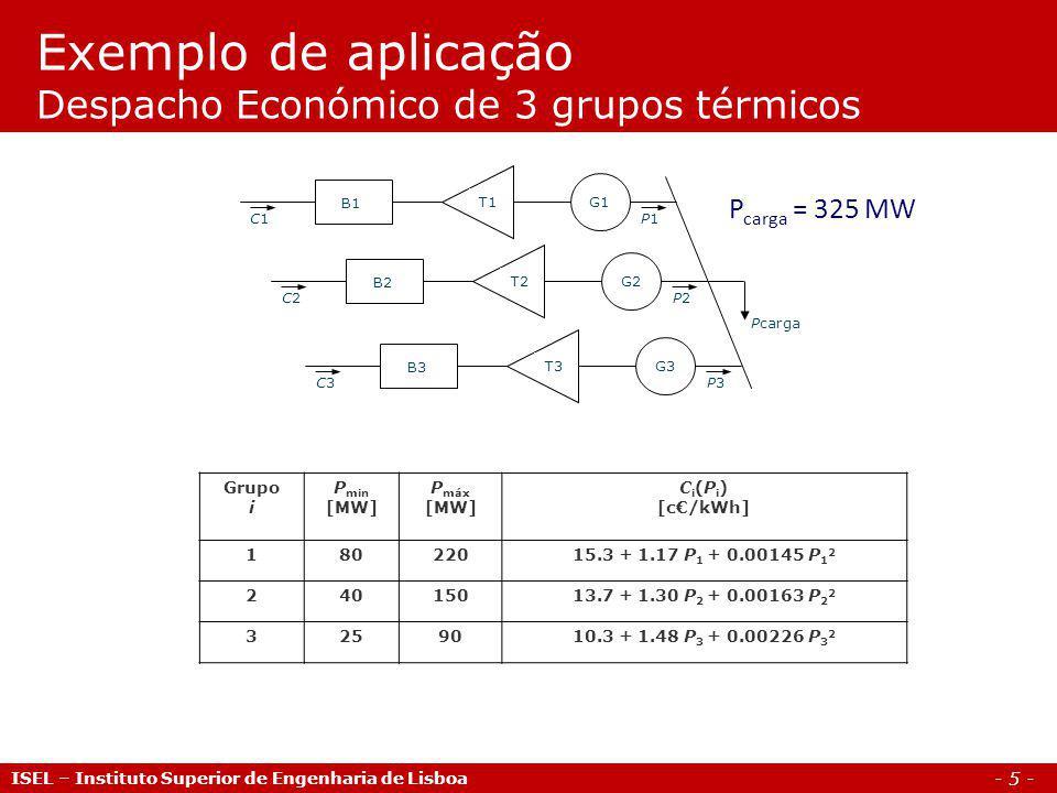 - 5 - Exemplo de aplicação Despacho Económico de 3 grupos térmicos ISEL – Instituto Superior de Engenharia de Lisboa Grupo i P min [MW] P máx [MW] C i (P i ) [c/kWh] 18022015.3 + 1.17 P 1 + 0.00145 P 1 2 24015013.7 + 1.30 P 2 + 0.00163 P 2 2 3259010.3 + 1.48 P 3 + 0.00226 P 3 2 Pcarga C1C1P1P1 G1T1 B1 C2C2P2P2 G2T2 B2 C3C3P3P3 G3T3 B3 P carga = 325 MW