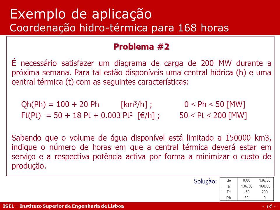 - 14 - Exemplo de aplicação Coordenação hidro-térmica para 168 horas ISEL – Instituto Superior de Engenharia de Lisboa Problema #2 É necessário satisfazer um diagrama de carga de 200 MW durante a próxima semana.