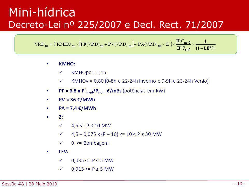 - 19 - Sessão #8 | 28 Maio 2010 Mini-hídrica Decreto-Lei nº 225/2007 e Decl.