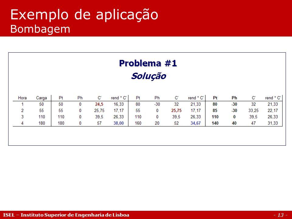 - 13 - Exemplo de aplicação Bombagem ISEL – Instituto Superior de Engenharia de Lisboa Problema #1 Solução