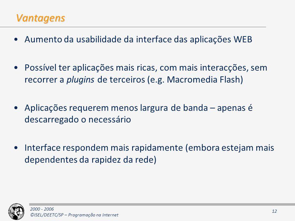 2000 - 2006 ©ISEL/DEETC/SP – Programação na Internet 12 Vantagens Aumento da usabilidade da interface das aplicações WEB Possível ter aplicações mais ricas, com mais interacções, sem recorrer a plugins de terceiros (e.g.