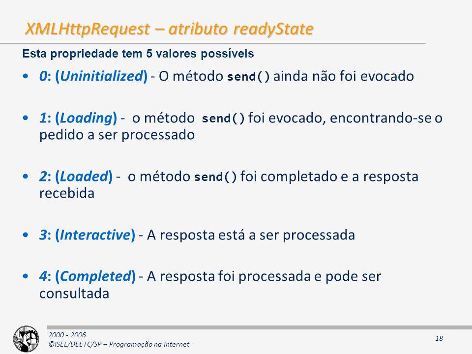 2000 - 2006 ©ISEL/DEETC/SP – Programação na Internet 18 XMLHttpRequest – atributo readyState 0: (Uninitialized) - O método send() ainda não foi evocado 1: (Loading) - o método send() foi evocado, encontrando-se o pedido a ser processado 2: (Loaded) - o método send() foi completado e a resposta recebida 3: (Interactive) - A resposta está a ser processada 4: (Completed) - A resposta foi processada e pode ser consultada Esta propriedade tem 5 valores possíveis