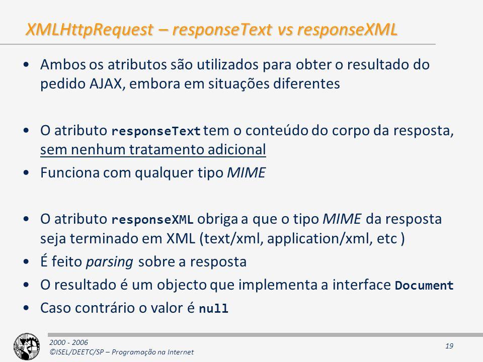 2000 - 2006 ©ISEL/DEETC/SP – Programação na Internet 19 XMLHttpRequest – responseText vs responseXML Ambos os atributos são utilizados para obter o resultado do pedido AJAX, embora em situações diferentes O atributo responseText tem o conteúdo do corpo da resposta, sem nenhum tratamento adicional Funciona com qualquer tipo MIME O atributo responseXML obriga a que o tipo MIME da resposta seja terminado em XML (text/xml, application/xml, etc ) É feito parsing sobre a resposta O resultado é um objecto que implementa a interface Document Caso contrário o valor é null
