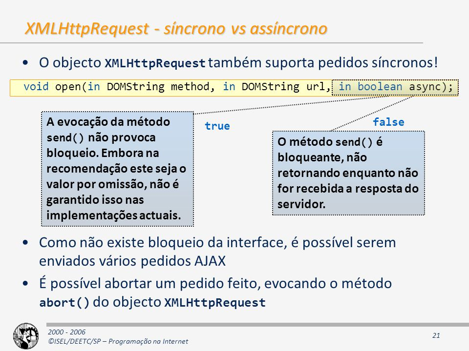 2000 - 2006 ©ISEL/DEETC/SP – Programação na Internet 21 XMLHttpRequest - síncrono vs assíncrono O objecto XMLHttpRequest também suporta pedidos síncronos.