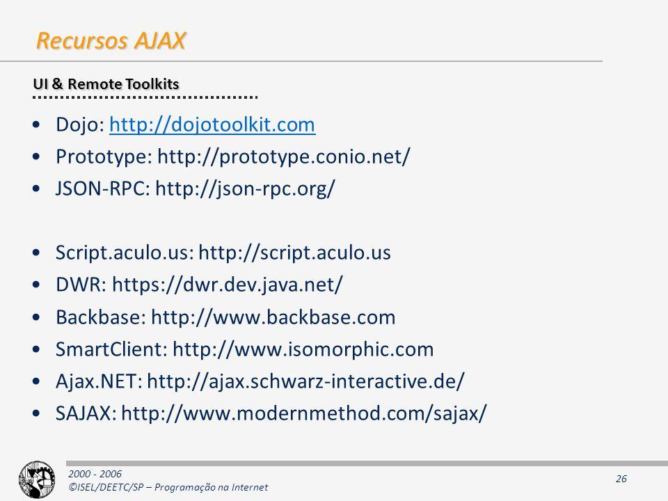 2000 - 2006 ©ISEL/DEETC/SP – Programação na Internet 26 Recursos AJAX Dojo: http://dojotoolkit.comhttp://dojotoolkit.com Prototype: http://prototype.conio.net/ JSON-RPC: http://json-rpc.org/ Script.aculo.us: http://script.aculo.us DWR: https://dwr.dev.java.net/ Backbase: http://www.backbase.com SmartClient: http://www.isomorphic.com Ajax.NET: http://ajax.schwarz-interactive.de/ SAJAX: http://www.modernmethod.com/sajax/ UI & Remote Toolkits