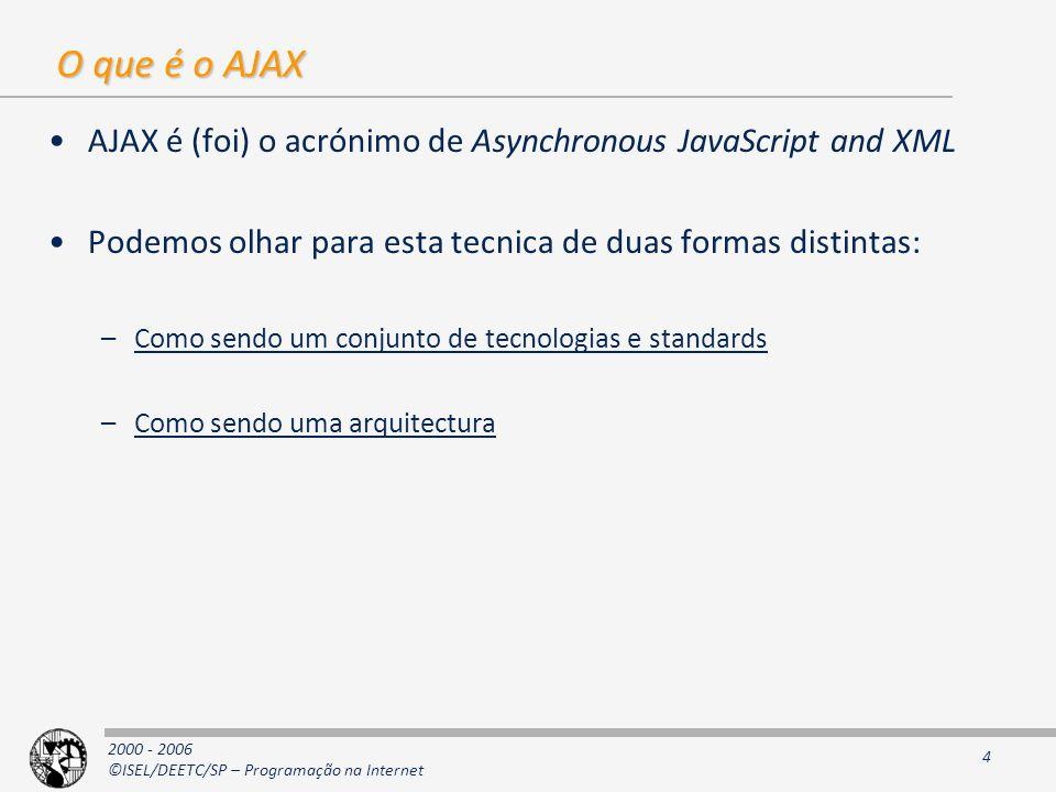 2000 - 2006 ©ISEL/DEETC/SP – Programação na Internet 4 O que é o AJAX AJAX é (foi) o acrónimo de Asynchronous JavaScript and XML Podemos olhar para esta tecnica de duas formas distintas: –Como sendo um conjunto de tecnologias e standards –Como sendo uma arquitectura