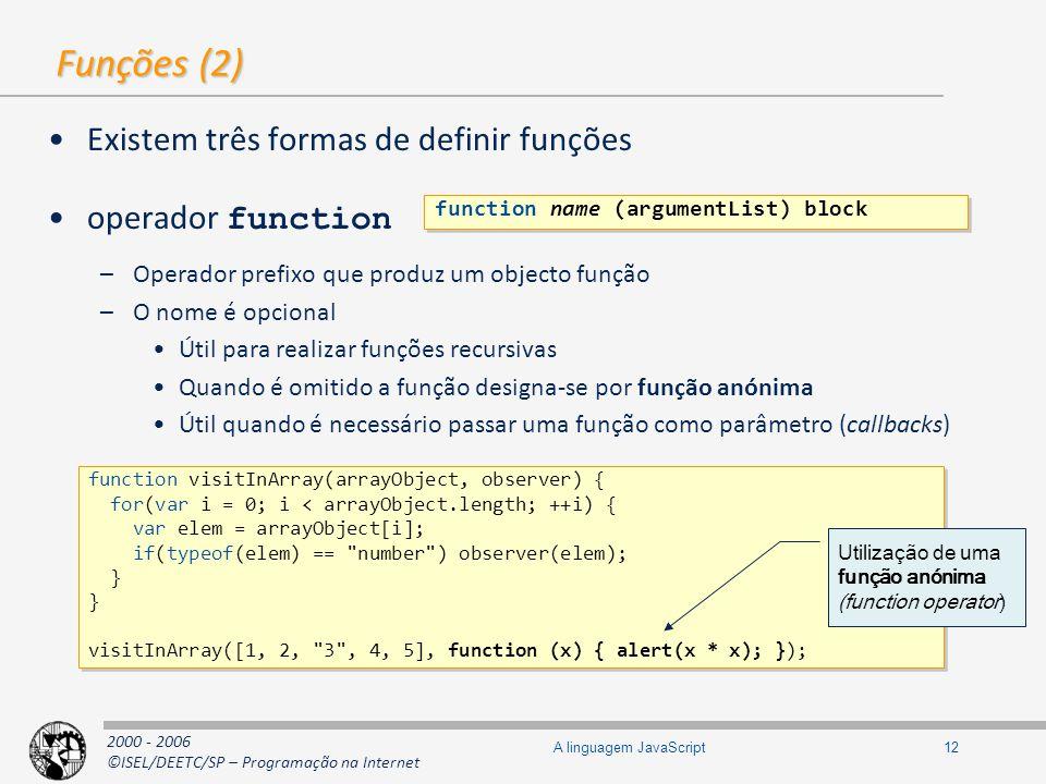 2000 - 2006 ©ISEL/DEETC/SP – Programação na Internet 12A linguagem JavaScript Funções (2) Existem três formas de definir funções operador function –Op