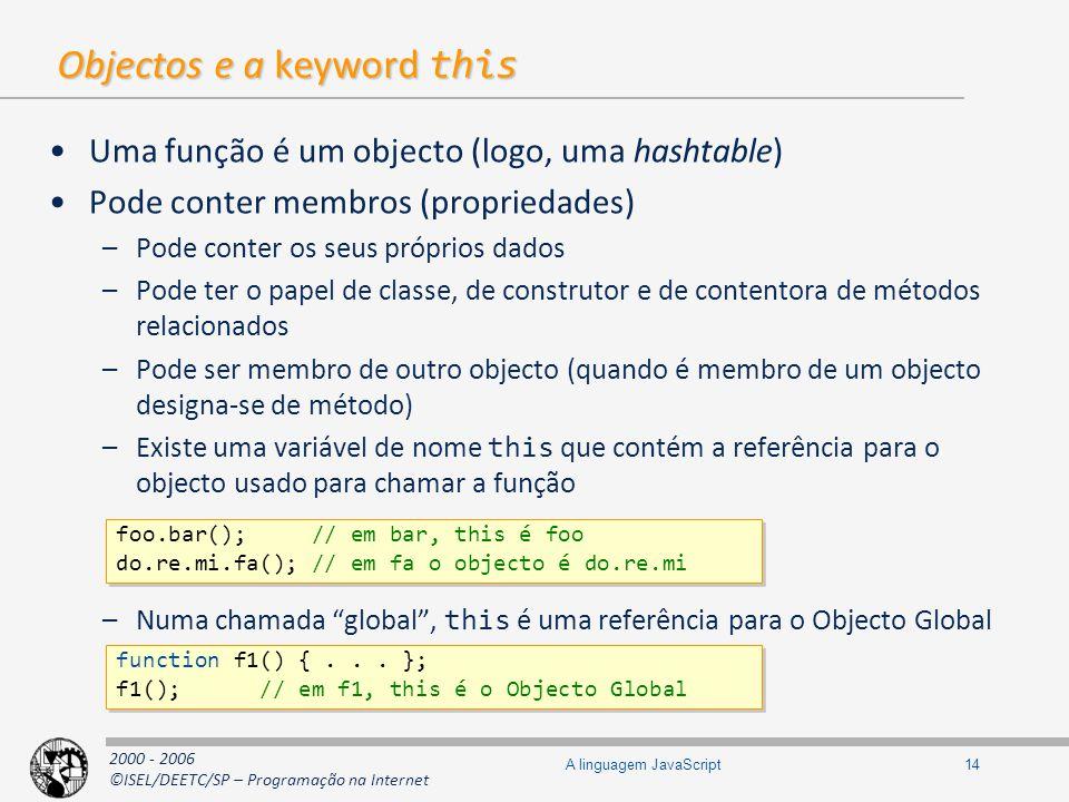 2000 - 2006 ©ISEL/DEETC/SP – Programação na Internet 14A linguagem JavaScript Objectos e a keyword this Uma função é um objecto (logo, uma hashtable)