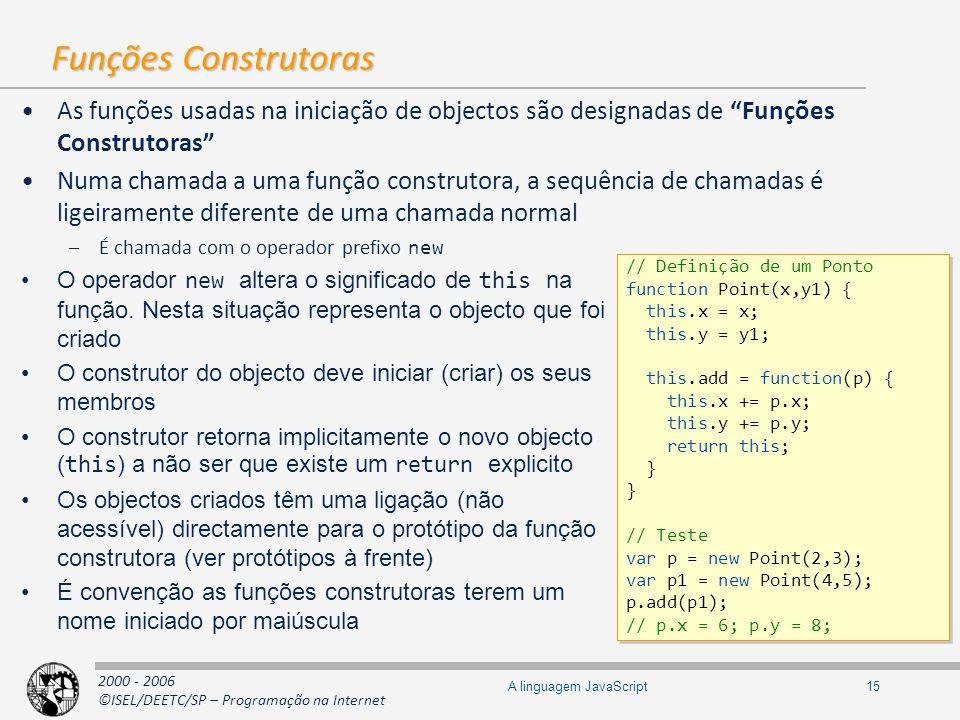 2000 - 2006 ©ISEL/DEETC/SP – Programação na Internet 15A linguagem JavaScript Funções Construtoras As funções usadas na iniciação de objectos são desi