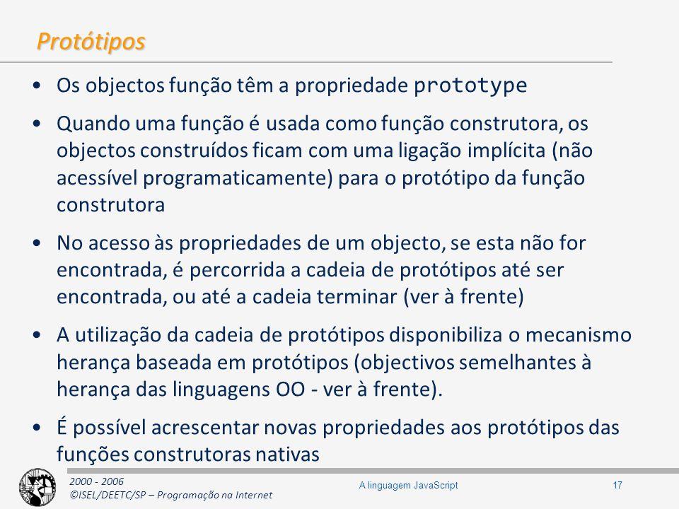 2000 - 2006 ©ISEL/DEETC/SP – Programação na Internet 17A linguagem JavaScript Protótipos Os objectos função têm a propriedade prototype Quando uma fun