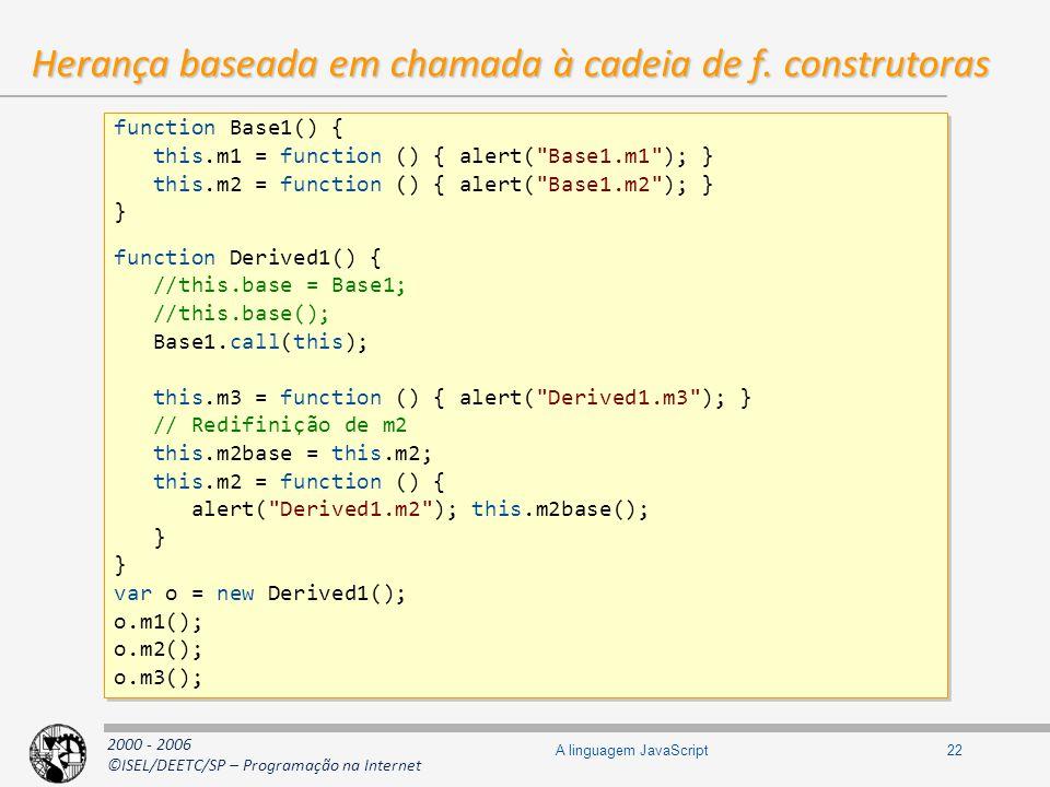 2000 - 2006 ©ISEL/DEETC/SP – Programação na Internet 22A linguagem JavaScript Herança baseada em chamada à cadeia de f. construtoras function Base1()