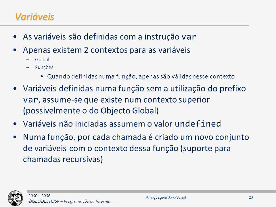 2000 - 2006 ©ISEL/DEETC/SP – Programação na Internet 23A linguagem JavaScript Variáveis As variáveis são definidas com a instrução var Apenas existem