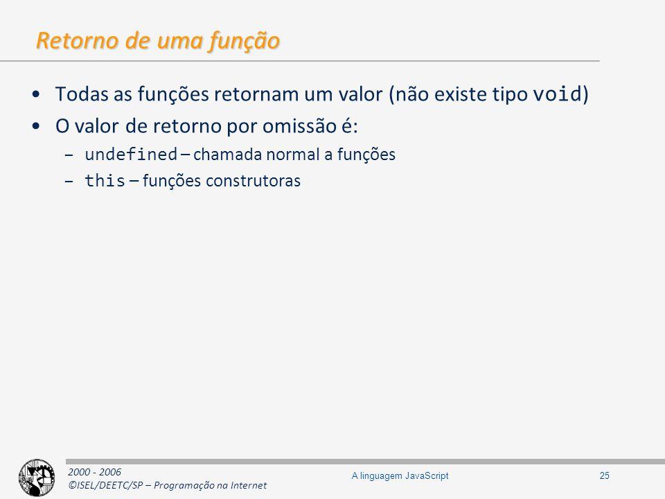 2000 - 2006 ©ISEL/DEETC/SP – Programação na Internet 25A linguagem JavaScript Retorno de uma função Todas as funções retornam um valor (não existe tip