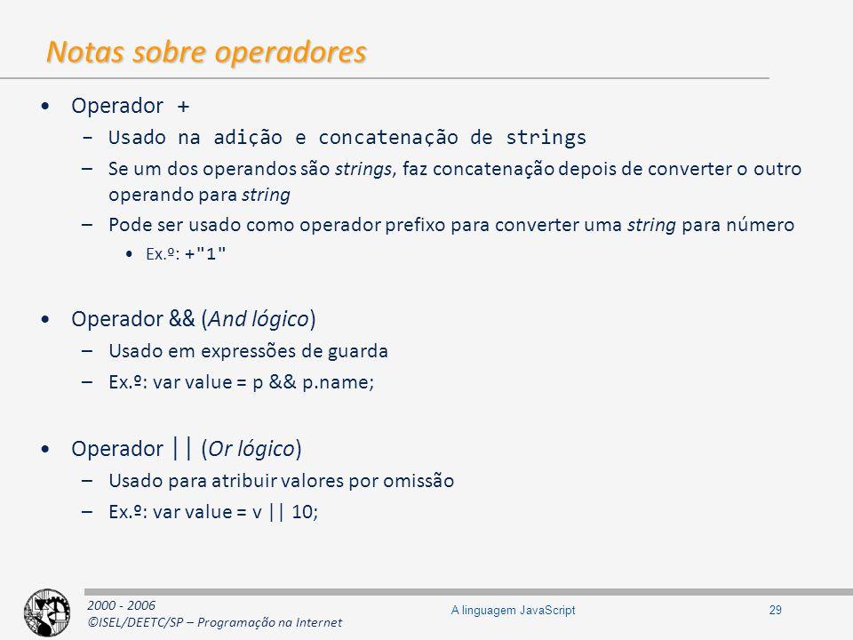 2000 - 2006 ©ISEL/DEETC/SP – Programação na Internet 29A linguagem JavaScript Notas sobre operadores Operador + –Usado na adição e concatenação de str