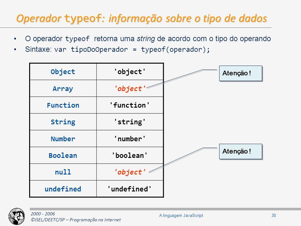 2000 - 2006 ©ISEL/DEETC/SP – Programação na Internet 30A linguagem JavaScript Operador typeof : informação sobre o tipo de dados O operador typeof ret
