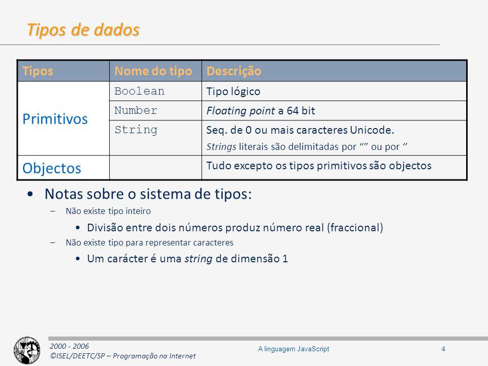 2000 - 2006 ©ISEL/DEETC/SP – Programação na Internet 5A linguagem JavaScript Valores primitivos Tipos Nome do tipo DescriçãoExemplo Number NaN Not a Number é o resultado de uma expressão com um operando que não pode ser convertido em valor numérico var a = NaN; var a = 10 / x ; // a assume valor NaN Infinity Representação de um valor infinito var a = Infinity; var a = 10/ 0; // a assume valor Infinity Boolean true Valor lógico verdadeiro var b = true; false Valor lógico falso var b = false; undefined conteúdo de variáveis não iniciadas var a; // a assume valor Undefined null representa o não valor, ou seja a inexistência de valor associado a uma variável var a = null; // x tem um não valor, ou seja null