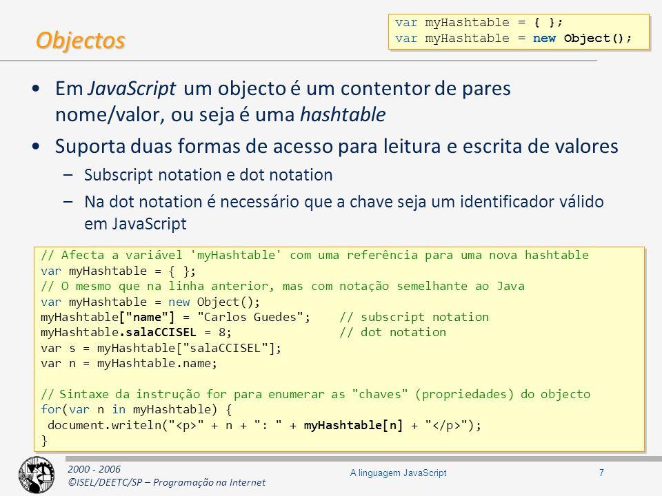 2000 - 2006 ©ISEL/DEETC/SP – Programação na Internet 18A linguagem JavaScript Diagrama de protótipos function CF() { this.a = aaa ; this.b = bbb ; } CF.c = ccc ; CF.prototype.foo = foo ; var c1 = new CF(); var c2 = new CF(); var c3 = new CF(); function CF() { this.a = aaa ; this.b = bbb ; } CF.c = ccc ; CF.prototype.foo = foo ; var c1 = new CF(); var c2 = new CF(); var c3 = new CF(); CF prototype c c ccc CFprototype prototype foo c1 constructor a a aaa b b bbb c2 constructor a a aaa b b bbb c3 constructor a a aaa b b bbb Protótipo explícito Protótipo implícito