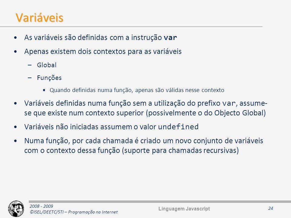 2008 - 2009 ©ISEL/DEETC/STI – Programação na Internet Variáveis As variáveis são definidas com a instrução var Apenas existem dois contextos para as v