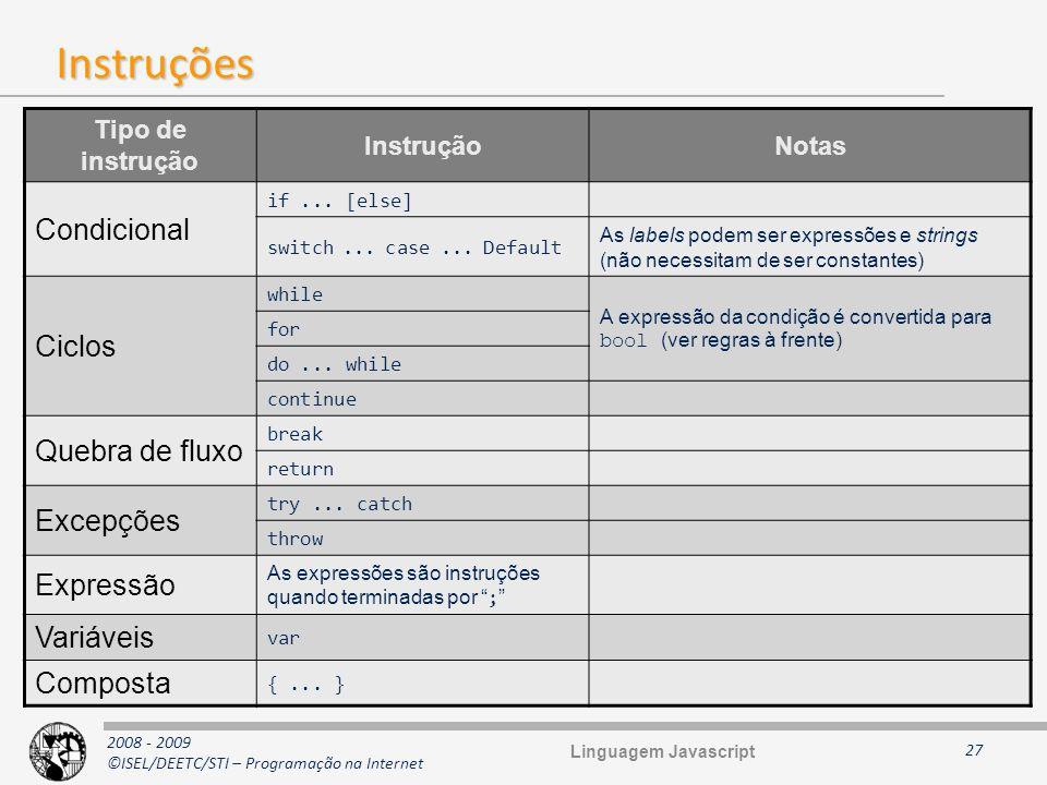 2008 - 2009 ©ISEL/DEETC/STI – Programação na Internet Instruções 27 Tipo de instrução InstruçãoNotas Condicional if... [else] switch... case... Defaul