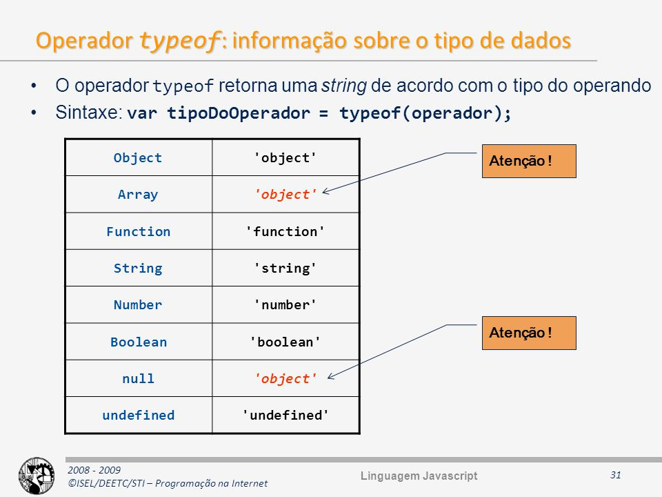 2008 - 2009 ©ISEL/DEETC/STI – Programação na Internet Operador typeof : informação sobre o tipo de dados 31 O operador typeof retorna uma string de ac
