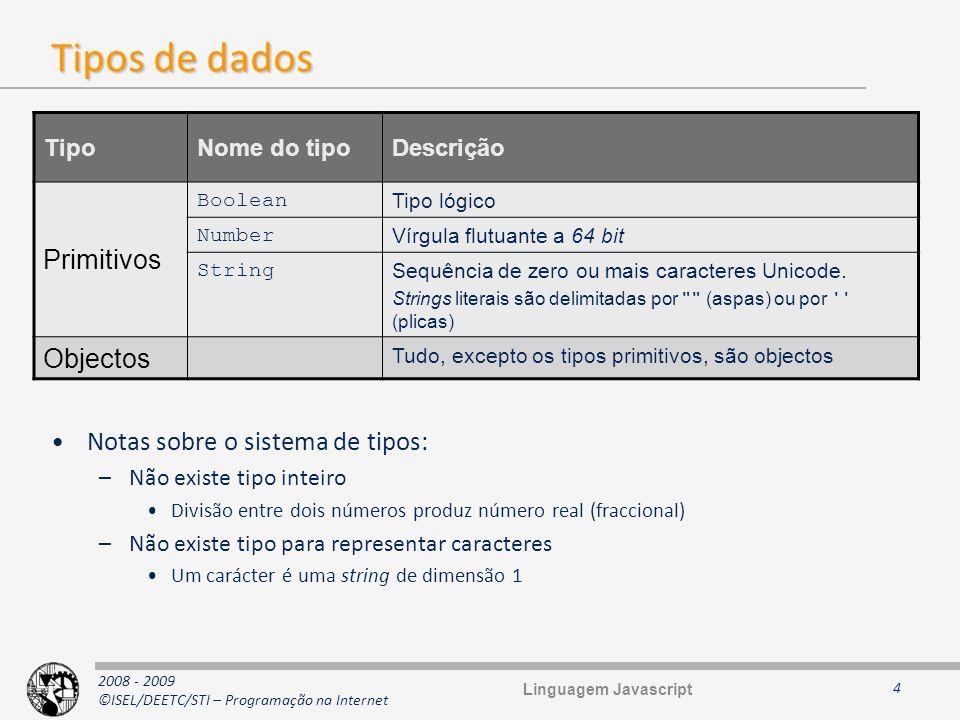 2008 - 2009 ©ISEL/DEETC/STI – Programação na Internet Tipos de dados Notas sobre o sistema de tipos: –Não existe tipo inteiro Divisão entre dois númer