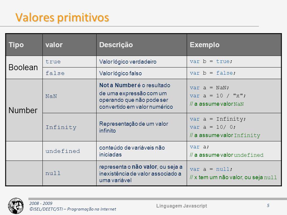 2008 - 2009 ©ISEL/DEETC/STI – Programação na Internet Valores primitivos 5 TipovalorDescriçãoExemplo Boolean true Valor lógico verdadeiro var b = true