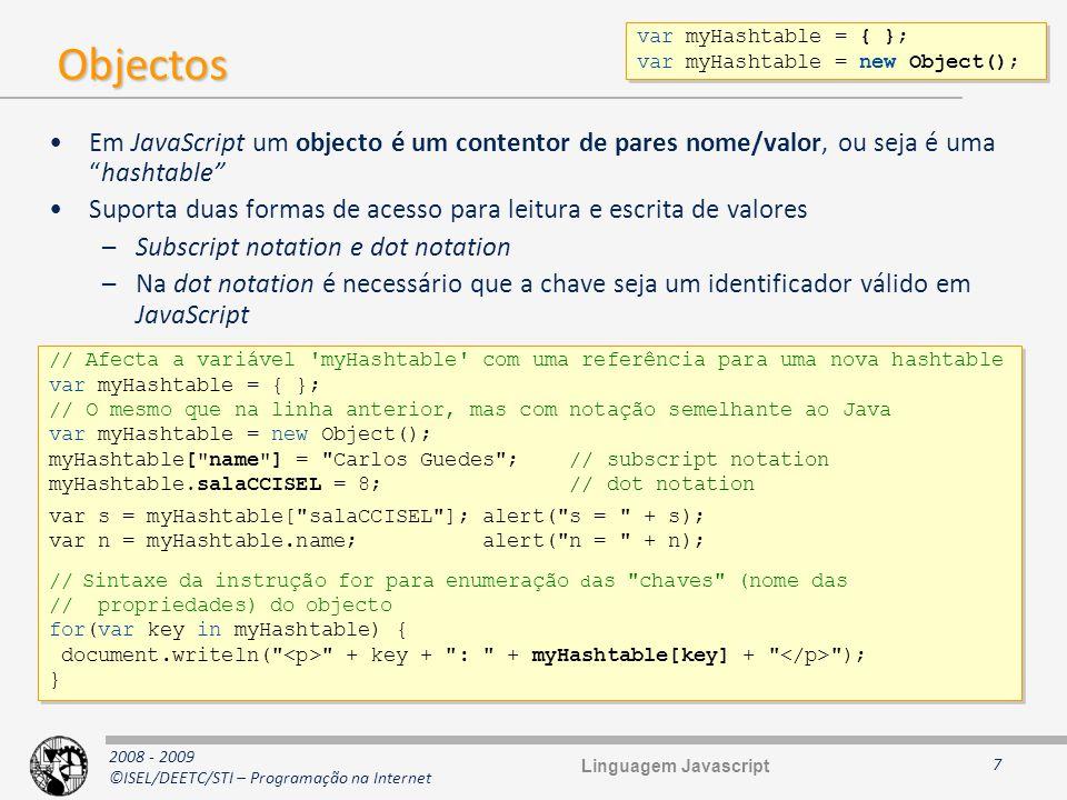 2008 - 2009 ©ISEL/DEETC/STI – Programação na Internet Diagrama de protótipos 18 function CF() { this.a = aaa ; this.b = bbb ; } CF.c = ccc ; CF.prototype.foo = foo ; var c1 = new CF(); var c2 = new CF(); var c3 = new CF(); function CF() { this.a = aaa ; this.b = bbb ; } CF.c = ccc ; CF.prototype.foo = foo ; var c1 = new CF(); var c2 = new CF(); var c3 = new CF(); CF prototype c c ccc CFprototype prototype foo c1 constructor a a aaa b b bbb c2 constructor a a aaa b b bbb c3 constructor a a aaa b b bbb Protótipo explícito Protótipo implícito Linguagem Javascript