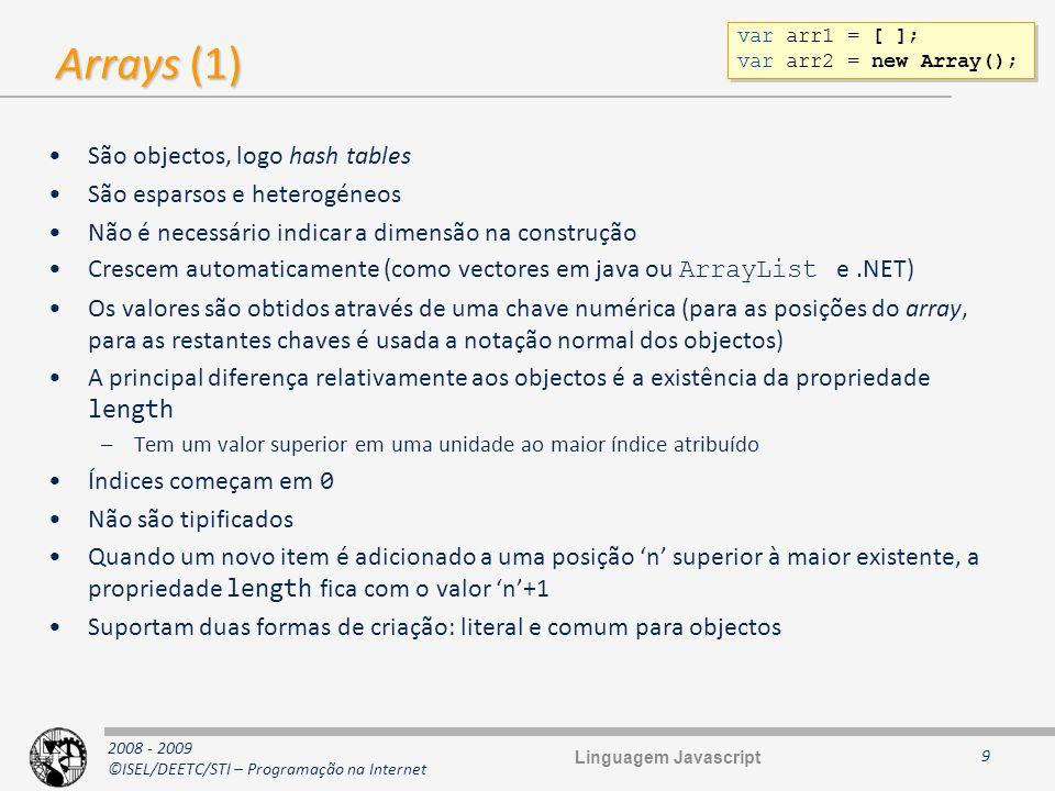 2008 - 2009 ©ISEL/DEETC/STI – Programação na Internet Arrays (2) 10 // Criação de arrays var myArray = []; // notação literal var myArray = new Array(); // notação de objecto (igual à linha anterior) var arrayWithSize = new Array(10); // O Array é iniciado 10 valores undefined // Notação literal var myList = [ oats , peas , beans , barley ]; var month_lengths = [31, 28, 31, 30, 31, 30, 31, 31, 30, 31, 30, 31]; var slides = [ {url: slide0001.html , title: Looking Ahead }, {url: slide0021.html , title: Summary , soccerClub: SLB }, 5 ]; // Adição de um elemento por afectação myList[i + 6] = SLB ; // Exemplo var diasDaSemana = [ domingo , segunda , terça , quarta , quinta , sexta , sábado ]; var dias = ; for(var i = 0; i < diasDaSemana.length; ++i) dias += diasDaSemana[i] + \n ; alert(dias); // Criação de arrays var myArray = []; // notação literal var myArray = new Array(); // notação de objecto (igual à linha anterior) var arrayWithSize = new Array(10); // O Array é iniciado 10 valores undefined // Notação literal var myList = [ oats , peas , beans , barley ]; var month_lengths = [31, 28, 31, 30, 31, 30, 31, 31, 30, 31, 30, 31]; var slides = [ {url: slide0001.html , title: Looking Ahead }, {url: slide0021.html , title: Summary , soccerClub: SLB }, 5 ]; // Adição de um elemento por afectação myList[i + 6] = SLB ; // Exemplo var diasDaSemana = [ domingo , segunda , terça , quarta , quinta , sexta , sábado ]; var dias = ; for(var i = 0; i < diasDaSemana.length; ++i) dias += diasDaSemana[i] + \n ; alert(dias); Linguagem Javascript