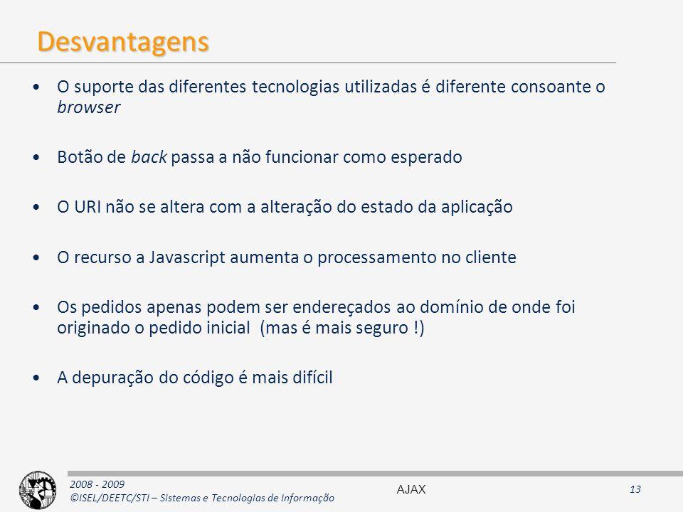 2008 - 2009 ©ISEL/DEETC/STI – Sistemas e Tecnologias de Informação Desvantagens O suporte das diferentes tecnologias utilizadas é diferente consoante