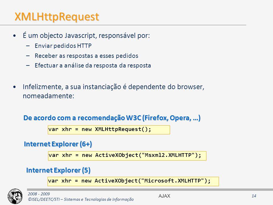 2008 - 2009 ©ISEL/DEETC/STI – Sistemas e Tecnologias de Informação XMLHttpRequest É um objecto Javascript, responsável por: –Enviar pedidos HTTP –Receber as respostas a esses pedidos –Efectuar a análise da resposta da resposta Infelizmente, a sua instanciação é dependente do browser, nomeadamente: var xhr = new XMLHttpRequest(); De acordo com a recomendação W3C (Firefox, Opera, …) var xhr = new ActiveXObject( Msxml2.XMLHTTP ); Internet Explorer (6+) Internet Explorer (5) var xhr = new ActiveXObject( Microsoft.XMLHTTP ); AJAX14
