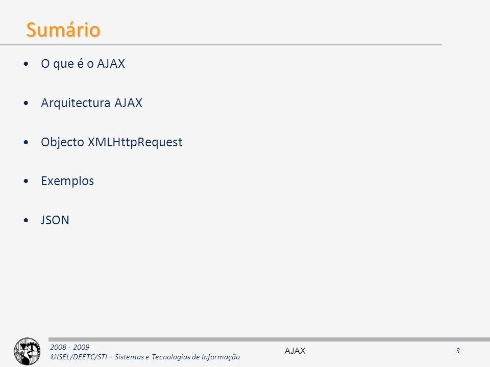 2008 - 2009 ©ISEL/DEETC/STI – Sistemas e Tecnologias de Informação Sumário O que é o AJAX Arquitectura AJAX Objecto XMLHttpRequest Exemplos JSON AJAX3