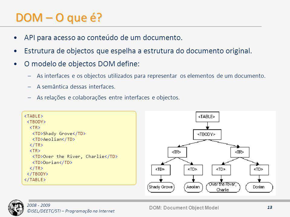 2008 - 2009 ©ISEL/DEETC/STI – Programação na Internet DOM – O que é? API para acesso ao conteúdo de um documento. Estrutura de objectos que espelha a